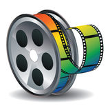 Movie Reel Icon. Film reel icon with colorful tape on white background Royalty Free Stock Photography
