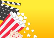 Movie reel Open clapper board Popcorn bucket box package Ticket Admit one. Three star. Pop corn falling. Cinema icon set. Flat des. Ign style. Yellow background Stock Photo