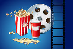 Movie Reel and Pop Corn. Illustration of pop corn with movie film reel Stock Image