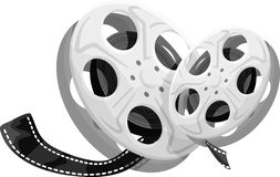 Movie Reels. Two reels of film. Shiny metal reels containing film Royalty Free Stock Photos