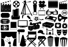 Movie Related Elements. Isolated on white Stock Photo