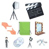 Movie related icon set. A movie camera, a floodlight, a chromakey and other equipment for the cinema.Making movie set collection icons in cartoon style vector Royalty Free Stock Images