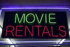 Movie rentals neon Royalty Free Stock Photography