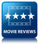Movie reviews blue square button Stock Image