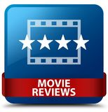 Movie reviews blue square button red ribbon in middle Stock Photos