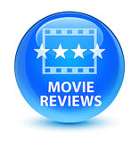 Movie reviews glassy cyan blue round button Stock Photography