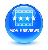 Movie reviews glassy cyan blue round button Royalty Free Stock Image