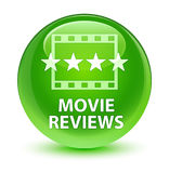 Movie reviews glassy green round button Royalty Free Stock Photo