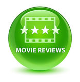 Movie reviews glassy green round button Stock Photo