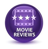 Movie reviews glassy purple round button Royalty Free Stock Photo