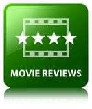 Movie reviews green square button. Movie reviews isolated on green square button reflected abstract illustration Stock Photo