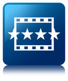 Movie reviews icon blue square button Stock Photo