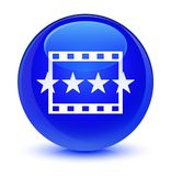 Movie reviews icon glassy blue round button. Movie reviews icon isolated on glassy blue round button abstract illustration Stock Photos