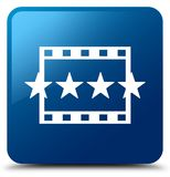 Movie reviews icon blue square button. Movie reviews icon isolated on blue square button abstract illustration Stock Images