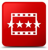 Movie reviews icon red square button. Movie reviews icon isolated on red square button abstract illustration Stock Image