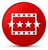 Movie reviews icon red round button. Movie reviews icon isolated on red round button abstract illustration Royalty Free Stock Photography