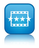 Movie reviews icon special cyan blue square button Stock Images