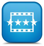 Movie reviews icon special cyan blue square button Stock Photography