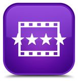 Movie reviews icon special purple square button Royalty Free Stock Photo