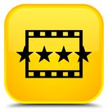 Movie reviews icon special yellow square button. Movie reviews icon isolated on special yellow square button abstract illustration Royalty Free Stock Images