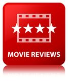 Movie reviews red square button. Movie reviews isolated on red square button reflected abstract illustration Royalty Free Stock Image