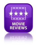 Movie reviews special purple square button. Movie reviews isolated on special purple square button reflected abstract illustration Stock Images