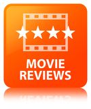 Movie reviews orange square button. Movie reviews isolated on orange square button reflected abstract illustration Stock Images
