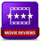 Movie reviews purple square button red ribbon in middle Stock Images