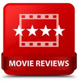 Movie reviews red square button red ribbon in middle Stock Photos