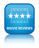 Movie reviews special cyan blue square button Stock Photography