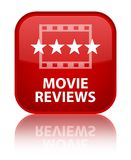 Movie reviews special red square button. Movie reviews isolated on special red square button reflected abstract illustration Stock Images