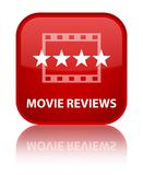 Movie reviews special red square button. Movie reviews isolated on special red square button reflected abstract illustration Royalty Free Stock Photos