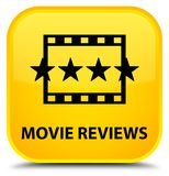 Movie reviews special yellow square button. Movie reviews isolated on special yellow square button abstract illustration Stock Photo