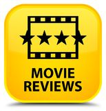 Movie reviews special yellow square button. Movie reviews isolated on special yellow square button abstract illustration Stock Photography