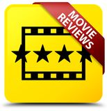 Movie reviews yellow square button red ribbon in corner. Movie reviews isolated on yellow square button with red ribbon in corner abstract illustration Stock Photography