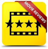 Movie reviews yellow square button red ribbon in corner. Movie reviews isolated on yellow square button with red ribbon in corner abstract illustration Royalty Free Stock Photos