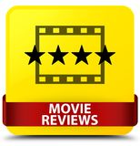 Movie reviews yellow square button red ribbon in middle. Movie reviews isolated on yellow square button with red ribbon in middle abstract illustration Stock Photos