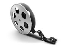Movie roll. Reel of 35mm motion picture film on a white background Stock Photography