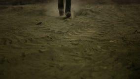 Movie Scene III. Man walking in dust stock video