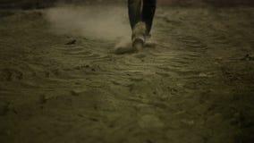 Movie Scene III. Man walking in dust stock footage