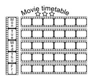 Movie school timetable. School timetable with movie frames design Stock Photo