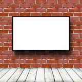 Movie screen in brick room. Big movie screen in brick room royalty free stock images