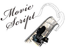 Movie script. This image is an illustration how a text of a movie script becomes a sequence in a movie. Text movie script, finishes in a paper roll with text stock illustration