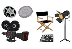 Movie Set. Equipments and tools icons Stock Photo