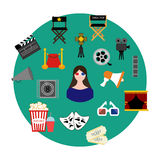 Movie set illustration. Movie set on the green background. Vector illustration Royalty Free Stock Image