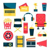 Movie set, such as armchair, popcorn, tickets, reel royalty free illustration