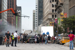 Movie shoot. CLEVELAND, OH - AUGUST 17, 2011: Production of the blockbuster movie The Avengers takes place on a blocked-off street revamped to look like New York Royalty Free Stock Photos