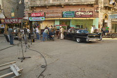 A movie shoot being filmed in Old Havana, Cuba Stock Photo