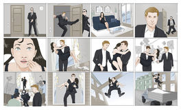 Movie shooting storyboards. With a stuntman royalty free illustration