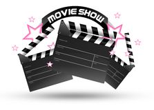 Movie Show Time. Three Movie Clippers and Pink Stars Isolated on White. Entertainment Illustration Royalty Free Stock Photo